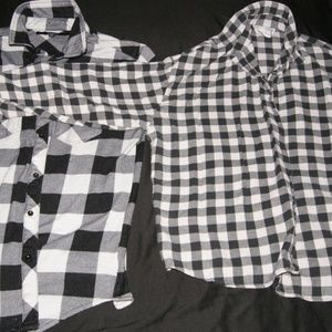 Lot of Two (2) - Plaid Button Top - Black White